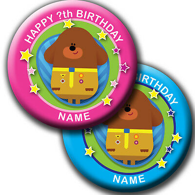 PERSONALISED HEY DUGGEE BIRTHDAY BADGE/ MAGNETS/MIRRORS 58MM or 77MM
