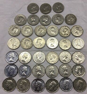 Canadian Canada Nickels Lot Of 38 Mixed Dates From 1928 To 1968