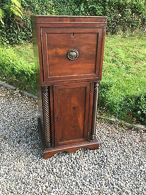 Antique Georgian Mahogany Lamp Cupboard / Podium With Drawer