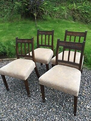 Antique Edwardian Upholsterd Dining Chairs Set Of Four
