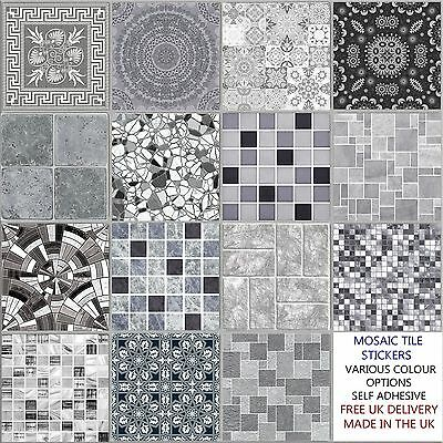 Grey 4 Inch Tile Stickers,Various design, Decal Transfer for Kitchen Bathroom
