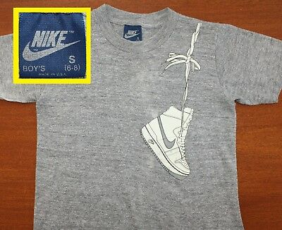Nike blue tag rayon tri-blend vtg youth tee S 6-8 gray hanging shoes Air Force