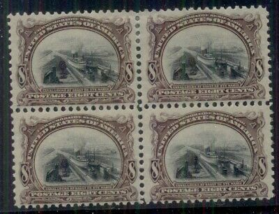US #298 8¢ Pan Am Expo, Block of 4, og, 2NH/2LH, fresh and scarce multiple,