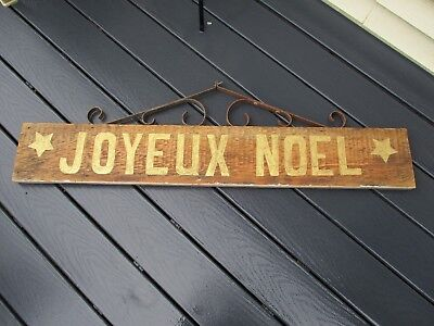 Painted Holiday Sign/reclaimed wood/antique iron bracket
