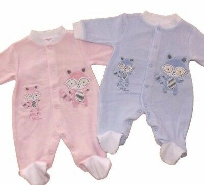 "Adorable Baby ""Make Me Smile"" Raccoon Design Velour Babygrow Pink or Sky Blue"