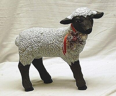 Vintage Large Black Headed Suffolk Sheep w Bell Animal Figure Country Farm Dcr b