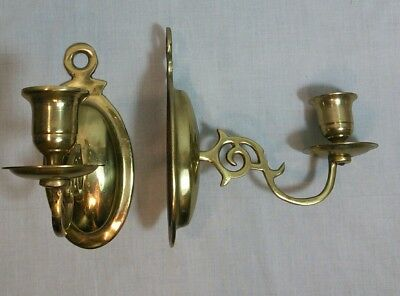 Pair of Vintage Brass Wall Sconce Candle Stick Holders Single Arm Set 2 Korea