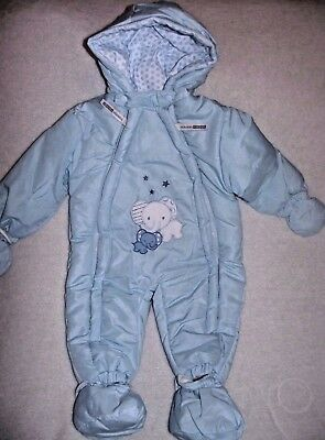 Elephant Design Traditional Baby Boys Blue Snowsuit Pramsuit  by Nursery Time