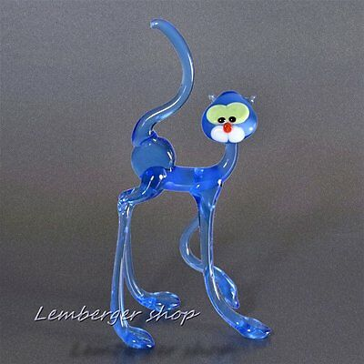 Glass figurine cat made of colored glass. Height 12 cm / 4.8 inch!