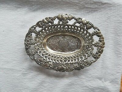 Very Pretty Antique Oval Pierced Silver Plate Footed Bowl Candy Dish