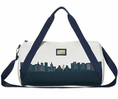 BENEFIT COSMETICS Limited Edition SF skyline white blue large duffle bag travel