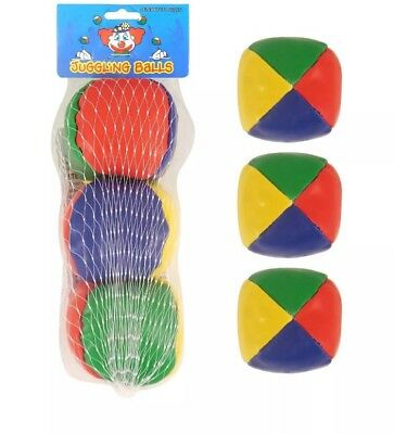 Set of 3 Circus Clown Coloured Juggling Balls Learn to Juggle Toy Game UK SELLER