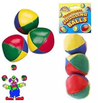 Set of 3 Circus Clown Coloured Juggling Balls Learn to Juggle Toy Game UK