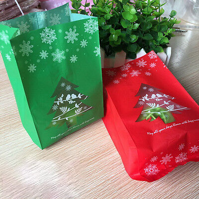 50x Christmas Tree Candy Gift Bags Cookie Packaging Bags for Snack Xmas DecorM&C