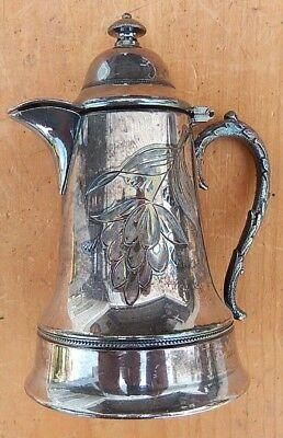 Nice Antique Silverplate Syrup Pitcher or Creamer with Lid B12
