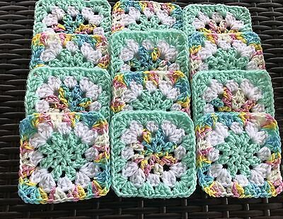 "20 4 1/2"" PASTEL & MINT FLOWER Hand Crocheted GRANNY SQUARES Blocks AFGHAN THROW"