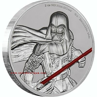 DARTH VADER STAR WARS 2 oz High Relief Proof Silver Coin Niue 20017