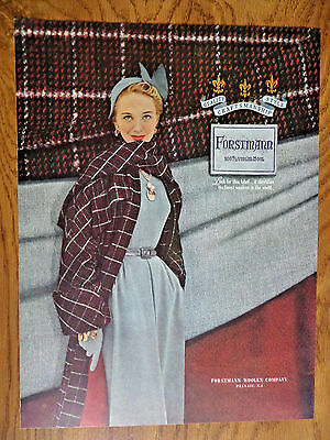 1949 Forstmann 100% Virgin Wool Fashion Ad