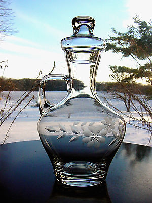 ViNTaGe Crystal Clear Etched~Cut Glass FLoWeR Carafe Decanter~Jug w/Stopper Lid