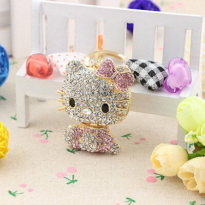 2018 Hot Hello Kitty Key Chain Bling Rhinestone Diamond Crystal Cell Ring Pink