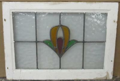 "MID SIZED OLD ENGLISH LEADED STAINED GLASS WINDOW Gorgeous Abstract 24.75"" x 18"""