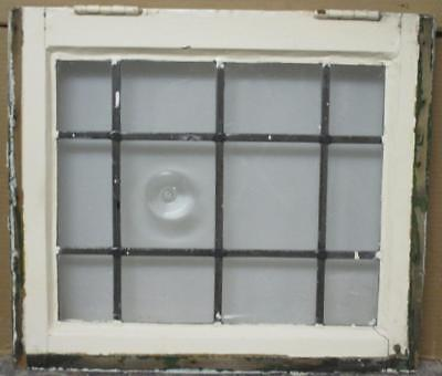 """OLD ENGLISH LEADED STAINED GLASS WINDOW Clear with Single Bullseye 20.5"""" x 18"""""""