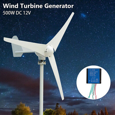 500W Max Power 3 Blades DC 12V Wind Turbine Generator Kit With Charge Controller