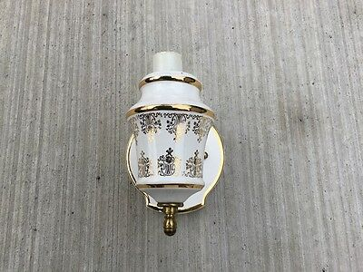 Vintage Porcelain Electric Wall Sconce Gold Detail