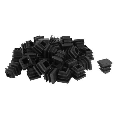 50 Pcs Plastic Blanking End Cap Square Tube Insert 16mmx16mm Black Y4F3