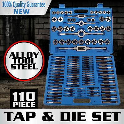 110PCS Tap and Die Combination Set Tungsten Steel Titanium SAE AND METRIC Tools