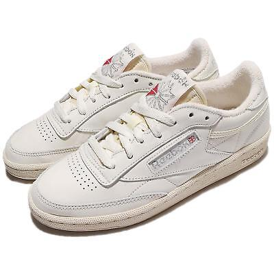 Reebok Club C 85 Vintage Ivory Chalk Silver Leather Women Shoes Sneakers BS8243