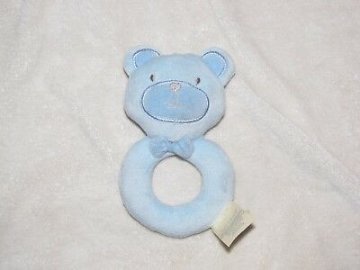 Kyle And & Deena Baby Boy Blue Teddy Bear Soft Stuffed Plush Ring Grasping Toy