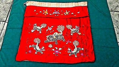 Antique Chinese Gold Stitches Silk Embroidery Panel With 5 Foo-Lions On Red Silk
