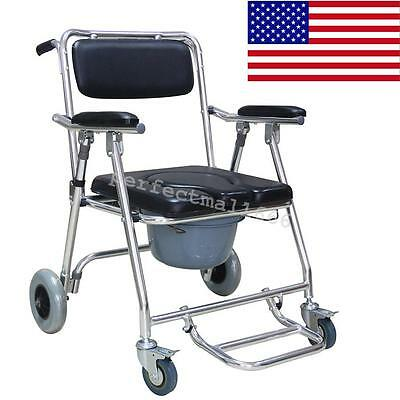 USA! Commode Wheelchair Bedside Toilet & Shower Chair Rust Free Aluminum Frame