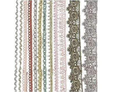 SALE - 12 Assorted Crochet Lace Border Ribbon for Crafts