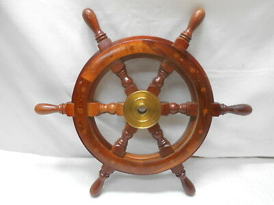 Vintage Small Ship's Wheel 46cm Wooden Japanese Nautical Maritime #78