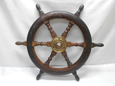 Vintage Small Ship's Wheel 60cm Wooden Japanese Nautical Maritime #79