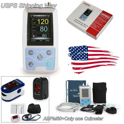 US Seller 24h Ambulatory Blood Pressure Monitor System ABPM50+Oximeter(3 Colors)