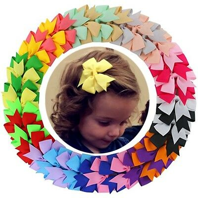 "40 Pcs ( 20 Pairs ) 3"" Girls Grosgrain Ribbon Boutique hair bows Clips for Girls"