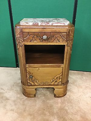 Antique Oak Bedside Cabinet With Marble Top