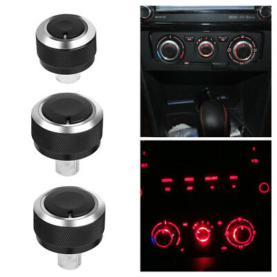 3Pcs Aluminum Car Air-Condition Control Panel Switch Knob for VW GOLF MK5 05-09