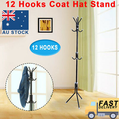 12 Hook Coat Hanger Stand 3 Tier Hat Bag Clothes Metal Rack Tree Style Storage