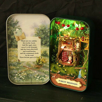 lovely DIY Tin Box Miniature 3D Doll House Set Theatre Series Small Handcraft