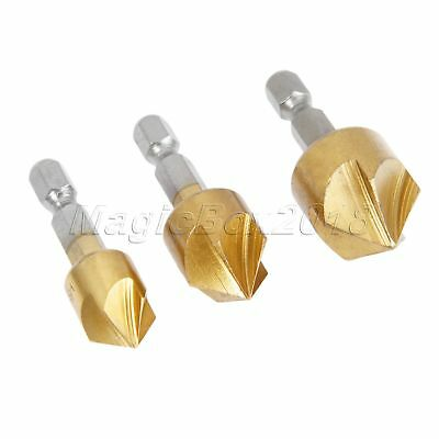 3Pcs HSS Drill Bits Titanium Coated Countersink Chamfering Deburring Cutter Tool