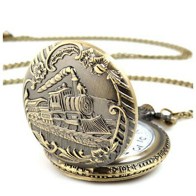 Unisex Antique Vintage Brass Locomotive Chain Pocket Watch Train Bronze D8K5