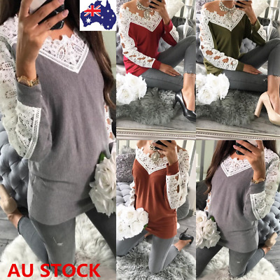 Autumn Women Lace Off Shoulder Long Sleeve Shirt Casual Loose V Neck Tops Blouse