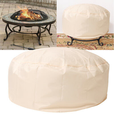 Fire Pit Cover UV Waterproof Protection Round 37'' Beige Outdoor Grill BBQ Cook