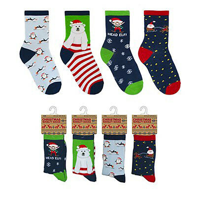4 Pack Children's Novelty Christmas Socks Size 9-12, 12.5-3.5 and 4-6 Supersoft