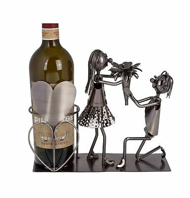Metal Wine Bottle Holder Lover Couple Stand Rack Art Decoration Gift Wedding Fun