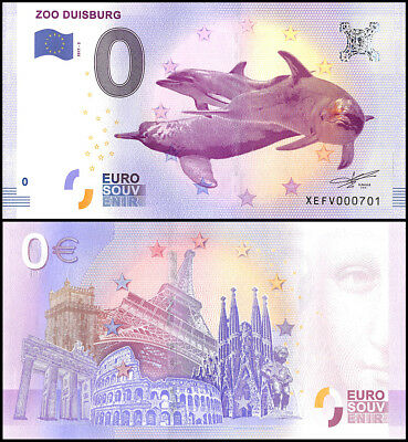 Zero - 0 Euro Europe, 2017 - 5 (5th Print), UNC, Dolphin,Zoo Duisburg in Germany